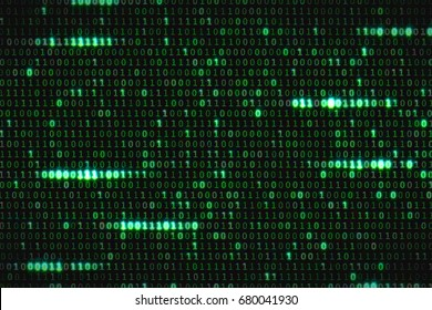 zero and one green binary digital code, computer generated seamless loop abstract motion background, new technology concept