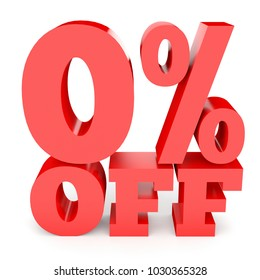 Zero percent off. Discount 0 %. 3D illustration on white background.