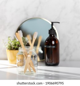 Zero waste bathroom accessories - mirror, toothbrushes, body lotion