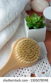 Zero waste bathroom accessories, natural sisal brush. Eco body, showers brush.