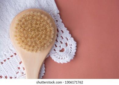 Zero waste bathroom accessories, natural sisal brush. Eco body, showers brush. Copy space.