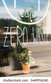 zero waste cafe window in Riga