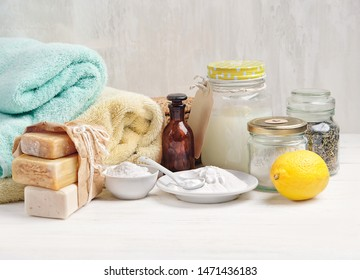 Zero waste concept. Eco friendly products for cleaning and care. Ingredients DIY - essential oil, salt, bath soap, baking soda and Laundry, vinegar, lemon. Natural cosmetic product, detergent. Spa