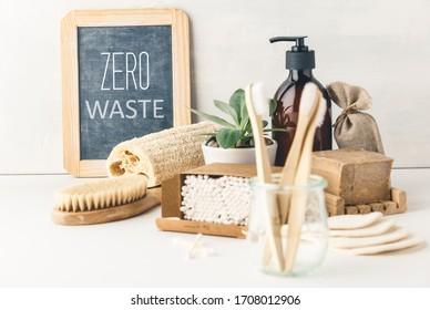Zero waste concept. Eco-friendly bathroom accessories. Sustainable lifestyle