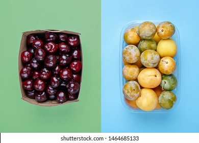 Zero waste concept. Fruit packaged in cardboard against fruit in plastic container.