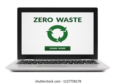 Zero waste concept on laptop computer screen. Isolated on white background. All screen content is designed by me.