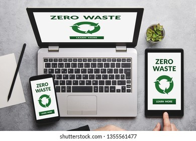 Zero waste concept on laptop, tablet and smartphone screen over gray table. Flat lay