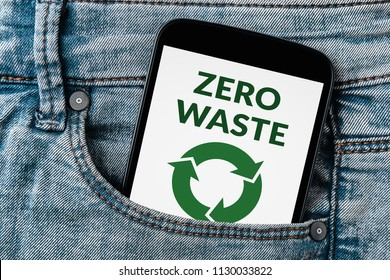 Zero waste concept on smartphone screen in jeans pocket. All screen content is designed by me. Flat lay