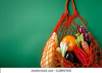 zero waste concept. shopping with textile bag
