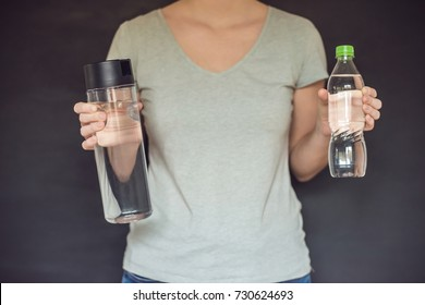 Zero waste concept Use a plastic bottle or a glass bottle. Zero waste, green and conscious lifestyle concept. Reusable on the go drink container ideas.
