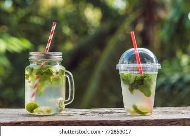 Zero waste concept Use a plastic glass or mason jar. Zero waste, green and conscious lifestyle concept. Reusable on the go drink container ideas.