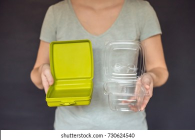 Zero waste concept Use a reusable lunchbox or disposable dishes. Zero waste, green and conscious lifestyle concept. Reusable on the go drink container ideas.