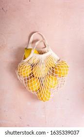 Zero Waste Eco Mesh Shopping Bag With citrus fruits, lemons