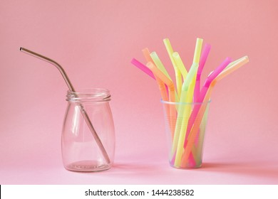 zero waste and eco-friendly green lifestyle concept concept, choice between reusable metal straw and plastic straws