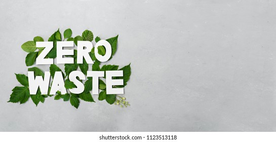 zero waste paper text witj green leaves on gray background