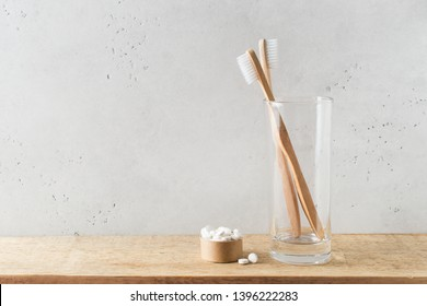 Zero waste, sustainability and minimalism concept. Wooden ecological bathroom accessories on white background, copy space, top view