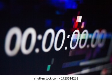 Zeroes on the abstract glitch background. Timecode (time code). Timer. Beginning. Glitch art. Digital errors on the screen. Digital artifacts.