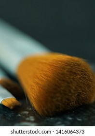 Zero-waste, plastic-free beauty and makeup brushes closeup macro selective focus.