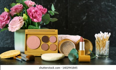 Zero-waste, plastic-free beauty and makeup reusable and refillable bamboo and natural products for eco-friendly lifestyle, slow panning.