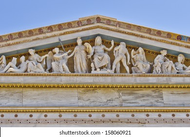 Zeus, Athena and other ancient Greek gods and deities, national university of Athens Greece neoclassical building detail