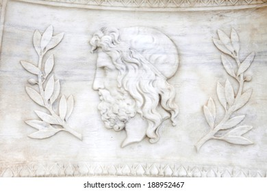 Zeus , Exterior building decoration detail of Athens Academy. Zeus king of the gods, the ruler of Mount Olympus and the god of the sky and thunder.