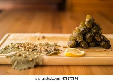 Zeytinyagli Yaprak Sarma / Stuffed Graped leaves with olive oil