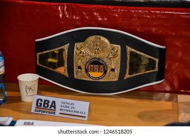 zgorzelec poland december 1, 2018: vacant German International (GBA) Middleweight Title (supervisor: Tengis Sade Baron to Romkerhall)