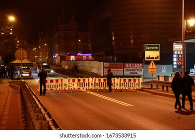 zgorzelec poland - march 15, 2020: Poland closes the borders, Zgorzelec Poland, border to Görlitz Germany, city bridge, Polish special forces for corona controls stationed at the Polish border