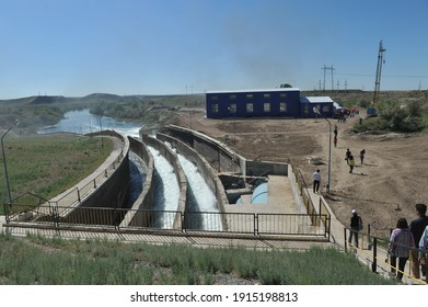 Zhambyl region, Kazakhstan - 05.15.2013 : Dam water discharge compartment at a hydroelectric power station.