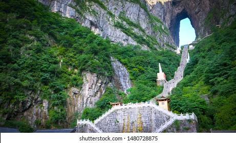 Zhangjiajie China - Circa July, 2019: Landscape nature of gate of heaven orTianmen  Cave in Tianmen Mountain Landmark National Park Of Zhangjiajie, Hunan , China.