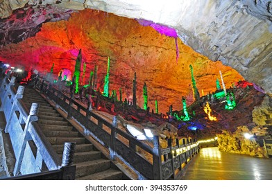 "ZHANGJIAJIE CHINA -MAR 7, 2016 :  Yellow Dragon Cavern. This cave is one of the earliest caves  for tourism and it is known as ""the wonder of the world 's caves"""