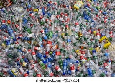 Zhangjiajie, China - March 24, 2016: Tones of plastic bottles in an undisclosed recycling facility in Zhangjiajie National Park, China.