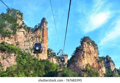 Zhangjiajie, China - May 12, 2017: Cable car in Wulingyuan in Zhangjiajie National Park, China.