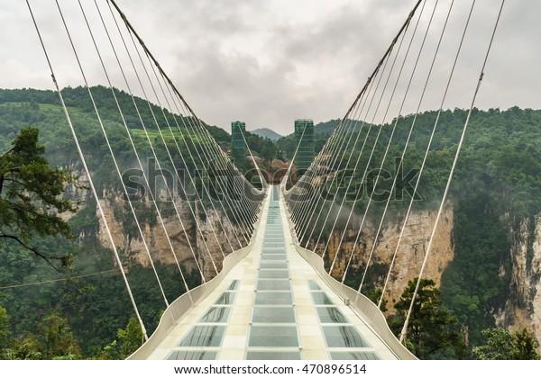 Zhangjiajie grand canyon, Hunan, China - August 4, 2016 : The new glass bridge over the Zhangjiajie grand canyon