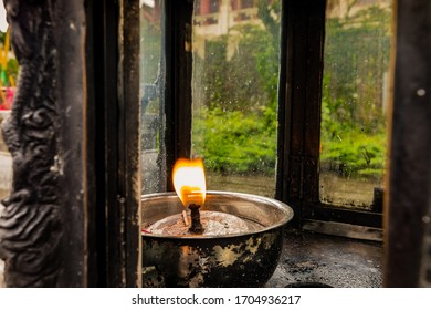 Zhangjiajie, Hunan, China - Agust 30, 2018 - Candle in front of   Tianmenshan Temple on the top of  Tianmen Mountain