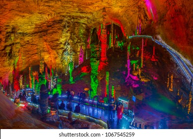 ZHANGJIAJIE, HUONAN/CHINA-MAR 11: Zhangjiajie scenery- Huanglong Cave on Mar 11, 2018 in Fenghang, Huonan, China. It is located in the southwest of Hunan Province, China.