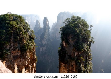 Zhangjiajie National Forest Park, China - UNESCO World Heritage Site. Natural quartz sandstone pillar the Avatar Hallelujah Mountain among woods and rocks in Tianzi Mountains, Hunan Province, China.