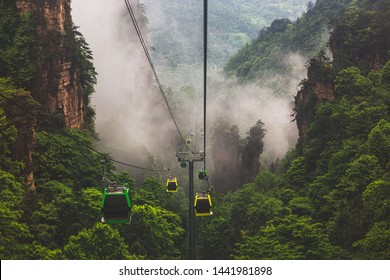 Zhangjiajie National Forest Park view from cable car,The cable cars mountain railway, cable cars above the mountain
