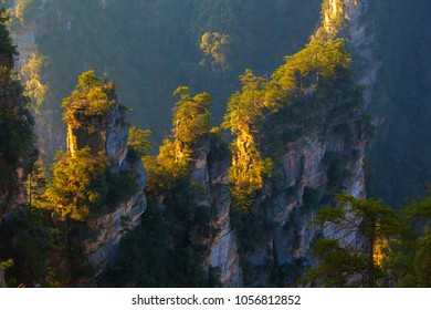 Zhangjiajie scenery in the morning sunshine. Taken on the Yuanjiajie scenic area of Zhangjiajie National Forest Park. They are located in the western part of Hunan Province, China.