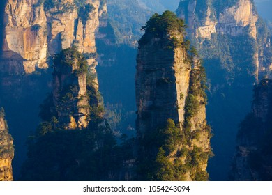 Zhangjiajie scenery. Taken on the Yuanjiajie scenic area of Zhangjiajie National Forest Park. They are located in the western part of Hunan Province, China.