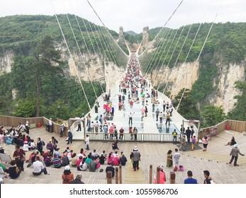 Zhangjiajie,China-May 08,2017 : Zhangjiajie's National Forest Park The Grand Canyon of Zhangjiajie skywalk Glass-bottom Bridge