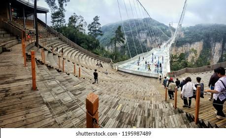 Zhangjiajie,China-September 21,2018 : Zhangjiajie Glass Floor Bridge in National Park.