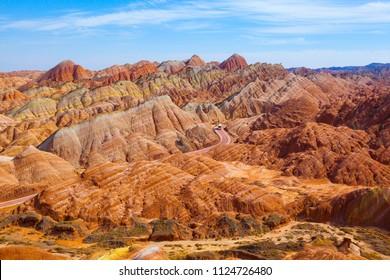 Zhangye Danxia Geological park scenery. It is the one of most beautiful Danxia landform in China. Taken on the Zhangye, Gansu, China.