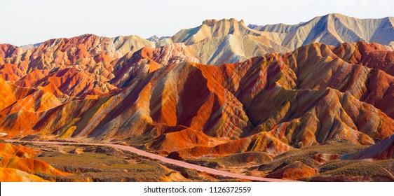 Zhangye Danxia Geological park scenery in Zhangye, Gansu, China. It is the one of most beautiful Danxia landform in China.