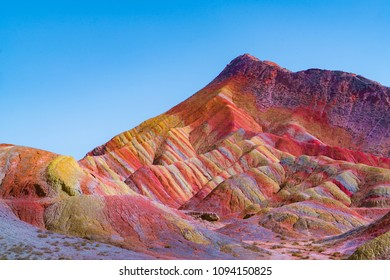 Zhangye Danxia Landform Geological Park in China.  It is the one of most beautiful Danxia landform.