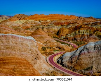 The Zhangye Danxia National Park located in the Gansu province in China's northwest is UNESCO World Heritage Site. Rainbow mountains have unusual colours of the rocks.