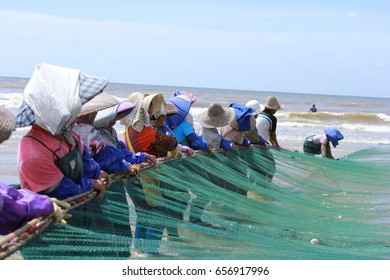 Zhanjiang, China, April 27, 2017, at the seaside Seine traditional fishermen catch fish.