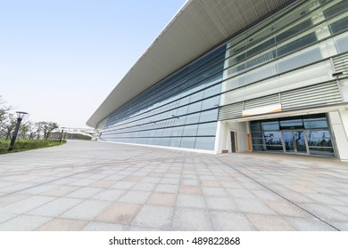 Zhanjiang, China, August 27, 2016:Modern architecture and outdoor tile floor