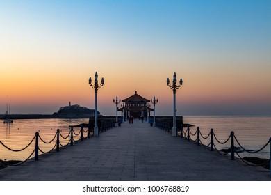 Zhanqiao pier at sunrise, Qingdao, Shandong, China