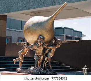 Zheleznovodsk, Russia - June 20,2008:Monument to enema in Zheleznovodsk - the only monument in the world.Author - sculptor Svetlana Avakova and David Begalov,2008 year.